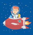 caucasian smiling boy riding a spaceship vector image