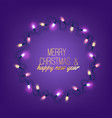 christmas light realistic garland on purple vector image vector image