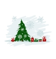 Christmas tree with gifts for your design vector image vector image