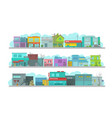 city long street set of architecture town vector image