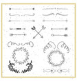 Collection of hand drawn floral borders dividers