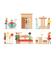 collection people shopping for furniture and vector image