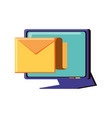 computer monitor with envelope mail vector image vector image
