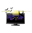 Computer screen with halloween theme vector image vector image