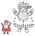 connect the dots and draw a funny santa claus vector image