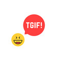 emoji tgif logo like thank god it is friday vector image vector image