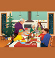 family having christmas dinner together vector image