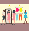 fashion shop or store customer and shop assistant vector image vector image