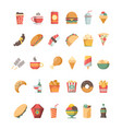 fast food icon junk food trash unhealthy products vector image vector image