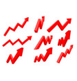 financial indication arrows up red shiny 3d graph vector image