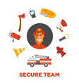 firefighting and fire secure team poster of vector image vector image