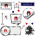 glossy icons with flag of austin tx vector image