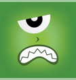 green monster character face vector image vector image