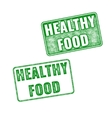 Green realistic Healthy food rubber stamp vector image