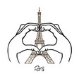 hands in the shape of the heart and the eiffel vector image vector image