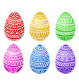 happy easter colorful eggs set hand draw vector image vector image