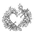 heart pierced by arrow heart decorated flowers vector image vector image