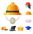isolated object of headwear and cap symbol set of vector image vector image