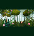 jungle forest and flowers trees leaves flowers vector image
