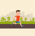 man jogging in park amid a big city vector image vector image