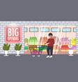 man pushing trolley cart with groceries big vector image vector image