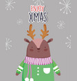 merry christmas celebration cute deer with sweater vector image vector image