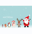 merry christmas greeting card with rats foxes vector image vector image