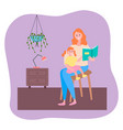 mother reading book her little daughter sitting on vector image vector image