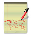 pen drawing world map on legal pad paper red ink vector image vector image