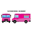 pink food truck hi-detailed with solid and flat vector image