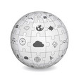 puzzle shape of a sphere with business icons vector image vector image