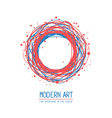 red and blue color round frame in modern vector image