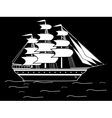 Sailing black white silhouette ship frigate retro vector image