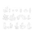 Set 17 fashion crystal Monochrome diamonds in vector image vector image