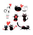 set enamored cats vector image vector image