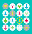 set of 16 down arrow icons arrow buttons on white vector image vector image