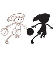set of female basketball player vector image