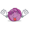 tongue out red cabbage mascot cartoon vector image vector image