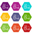 tractor icons set 9 vector image vector image