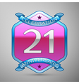Twenty one years anniversary celebration silver vector image vector image