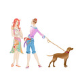 two girls with the dogs vector image