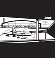 view to airport from termonal vector image
