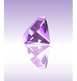 Violet diamond with reflection vector image vector image