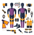 wetsuit and diving equipment vector image vector image