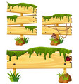 wooden signs with moss and grass vector image vector image