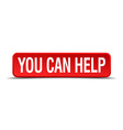 You can help red 3d square button isolated on vector image