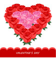 red roses in heart shape card romantic vector image