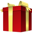 red gift box with gold ribbon bow vector image