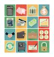 flat icons finance set vector image