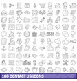 100 contact us icons set outline style vector image vector image